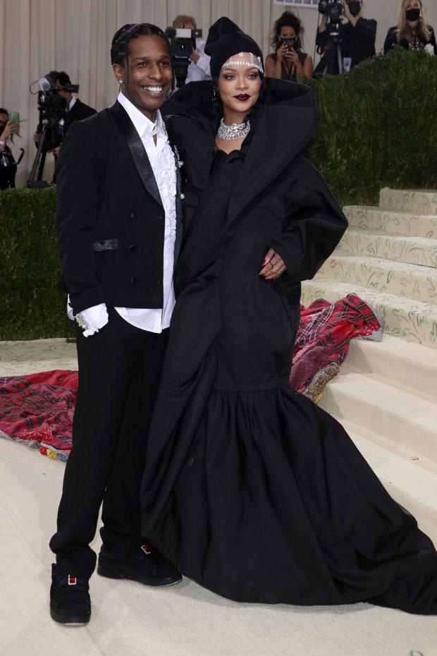 Rihanna Met Gala Wears Massive Black Dress & Arrives Fashionably Late With A$AP Rocky At Met Gala