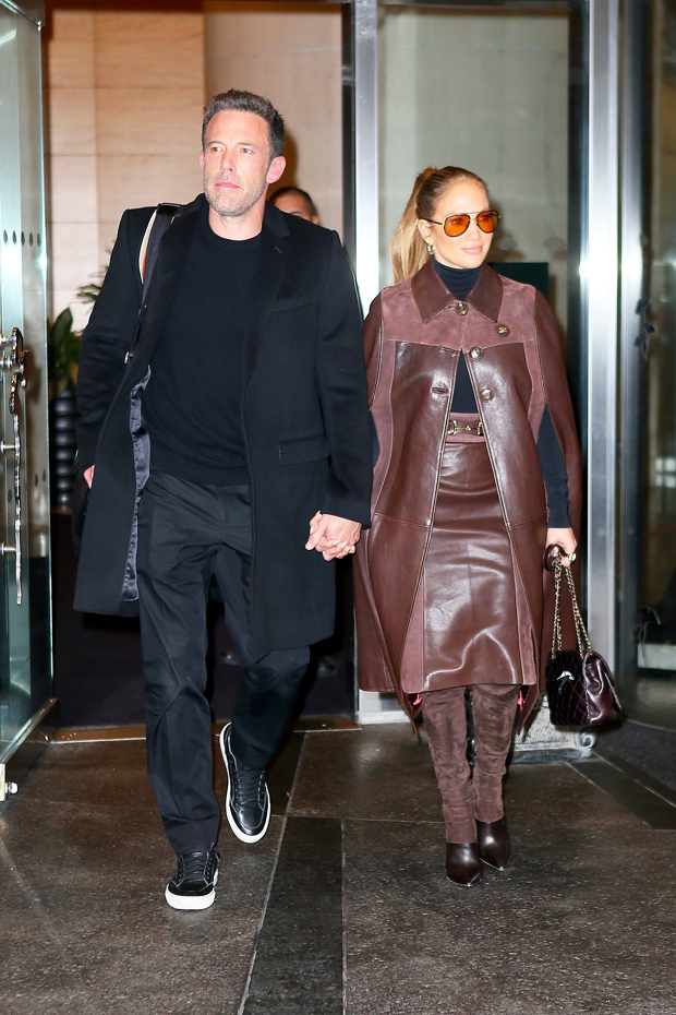 JLo Brown Leather Coat Holds Hands Ben embed 1
