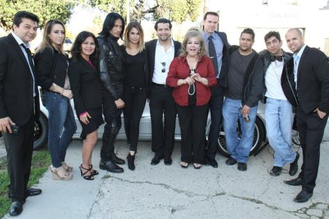 Amelia with the cast and crew of Among Us, with Joss Gomez and Solecito Vazquez in the center. Gomez wrote, produced, directed and starred in the film while Vazquez acted and produced the film