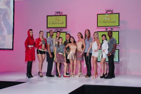 Designer Savanh Taymani with her models at the show
