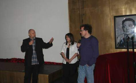 "Q and A with festival founder Mark Mos and filmmakers Hania Malachowski (""Fetch"") and Dominic Polcino (""Lovesick Fool""). Photo courtesy of Vida G."