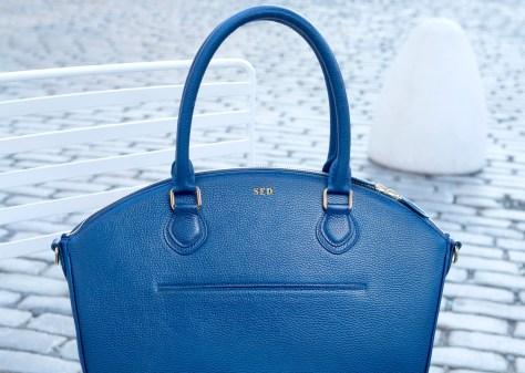 LDR Brand's innovative handbag in a cobalt blue, a very popular color this fall.