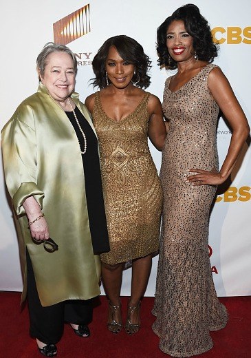 Renowned actresses Kathy Bates and Angela Bassett flank SNN founder Areva Martin