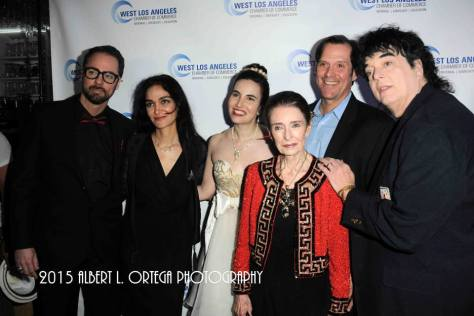 Actor David Banks, Entertainment Attorney Nadia Davari, Vida, actor Ford Austin, Legendary Oscar-winning actress Margaret O'Brien and actor Randal Malone at The West Los Angeles Chamber Of Commerce's Ceremony Honoring Actress/journalist Vida Ghaffari held at Delphi Greek Restaurant. Photo courtesy of Albert L. Ortega/Getty Images