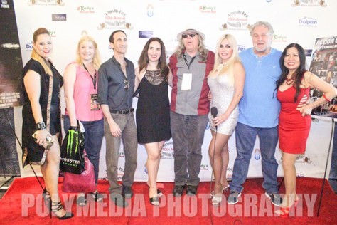 The cast and crew of Natural Born Filmmakers. From with writer and producer Melanie Grunder, actor Gregory Blair, myself, writer-director Steve Oakley, actress Dawna Lee Heising, and Joycelyne Lew in the center. Photo courtesy of John Cox/Polymedia Photography