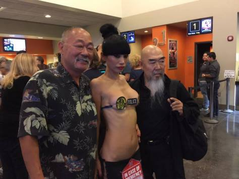 Castmates Cranston Komuro, Bai Ling and Gerald Okamura. Bai's eye-catching outfit is a nod to the genre of the film