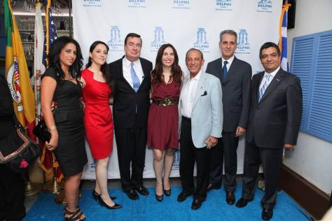 From left to right: Chamber Board Member, human rights activist, author and designer Elham Yaghoubian, Chef Rana Pourarab, Senator Steve Anderson, actress and voiceover artist Vida Ghaffari, the former Mayor of Beverly Hills, the Honorable Jimmy Delshad, Consul General of Greece Gregory Karahalios, and Roozbeh Farahanipour, President of the West Los Angeles Chamber of Commerce and owner and operator of Delhi Greek