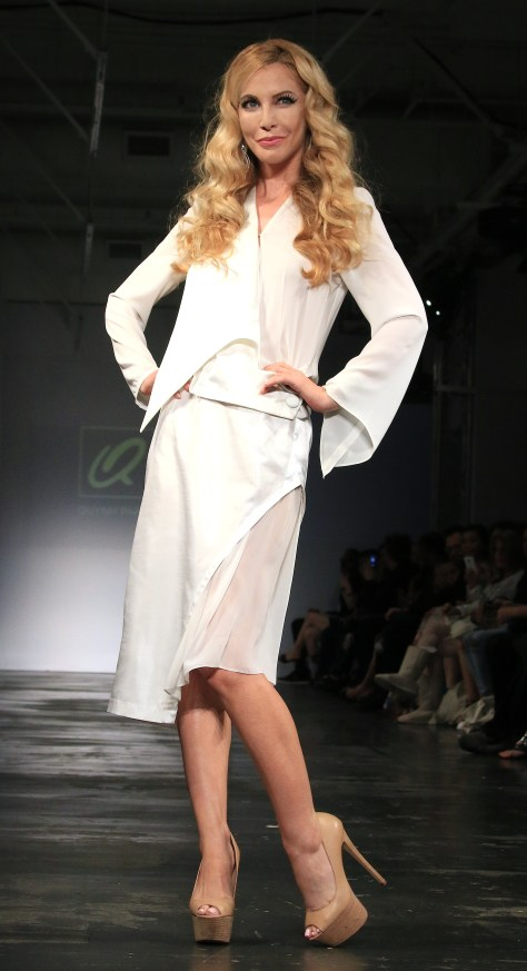 Nights in White Satin! Actress and model is stunning in a white dress from the ready-to-wear collection