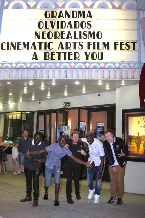 "The cast of ""Breathe"" under the festival's marquee at the Lammle Theatre"