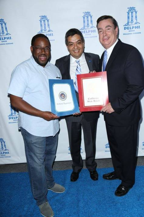 Ridley-Thomas and Senator Anderson present Roozbeh with awards