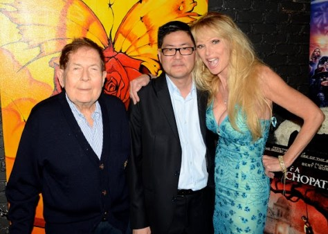 Filmmakers Bert I. Gordon and Gregory Hatanaka with actress Laurene Landon. Photo courtesy of Billy Bennight/PR Photos