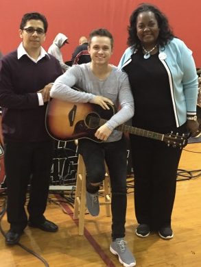 From left to right: Manuel Castaneda music teacher at centennial High, musical artist John Lindhal, and Dr. Jacqueline Sanderlin, of the Community and Collaborative Partnerships of the Compton Unified School District.
