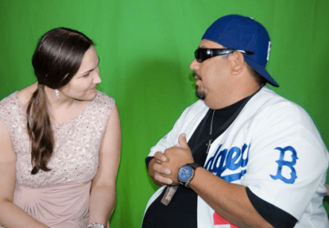 Host Erica Allseitz with comic Gil Fajardo