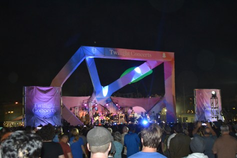 Glowing multi-colored outdoor stage photo courtesy of Judy Hansen Pullos
