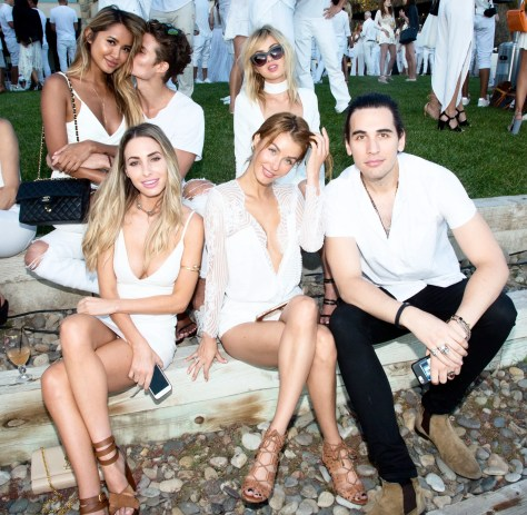 Nick Simmons (R) and guests attend the Treats! Magazine 4th Annual White Party Sponsored By Stella Artois on September 17, 2016 in Malibu, California. (Photo by Gabriel Olsen/WireImage)