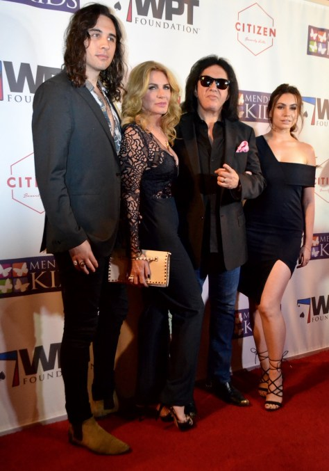 Nick Simmons, Shannon Simmons, Gene Simmons and Sophie Simmons on the red carpet photo courtesy of Judy Hansen Pullos