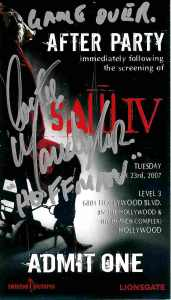 SAW IV: AUTOGRAPHED PRIVATE PARTY TICKET