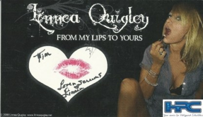 Signed Linnea Quigley Kiss Card