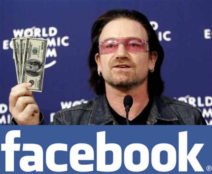 U2ボノ、フェイスブック株で世界一資産有るポップスターへ