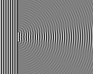 A plane wave passing through a barrier, resulting in diffraction and interference