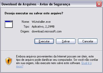 Escolher se vai salvar ou executar o arquivo (Internet Explorer 7)
