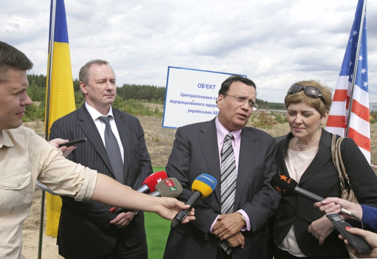 From L to R : Yuriy Nedashkovsky , Dr. Kris Singh, and Victoria Starostenko (interpreter) at the press conference