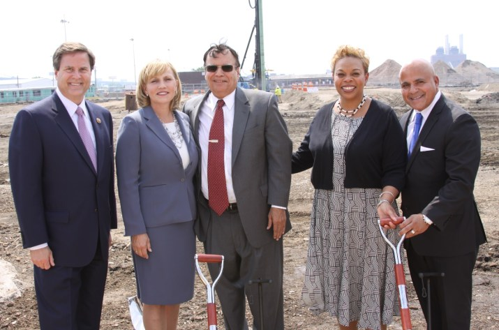 From left to right: Congressman Donald Norcross, Lt. Governor Kim Guadagno, Dr. Kris Singh, Mayor Dana Redd, Mr. Frank Moran