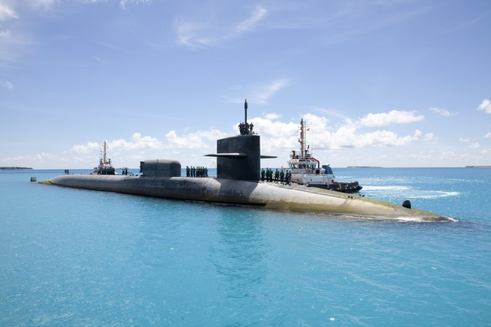 USS Florida (SSGN 728) Mooring in Diego Garcia, British Indian Ocean Territory, on June 2nd 2015 after a 95 Day Underway