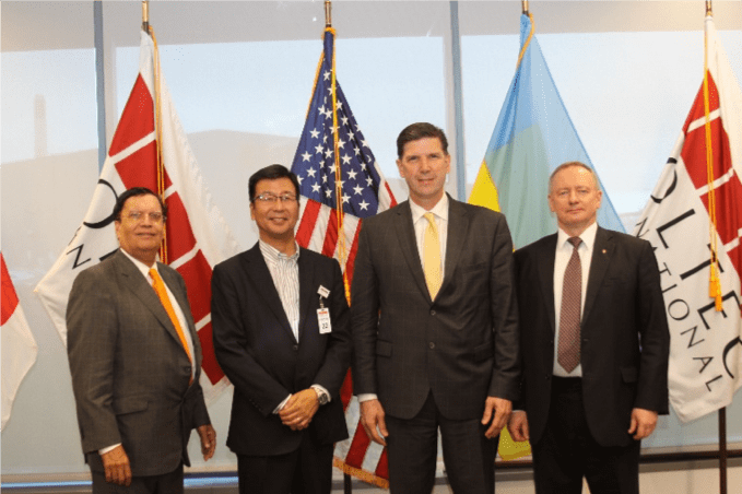 From left to right:  Dr. Kris Singh (Holtec); Noriyuki Takazawa (Mitsubishi); Edward McGinnis (US DOE); Yuriy Nedashkovsky (Energoatom)