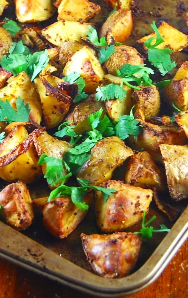 Golden Roasted Curry Mustard Potatoes