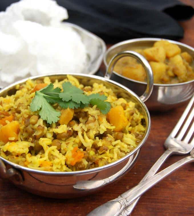Mung sprouts khichdi with butternut squash