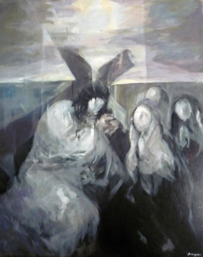 A painting of a figure carrying a cross with other figures nearby offering comfort. The faces have little detail.