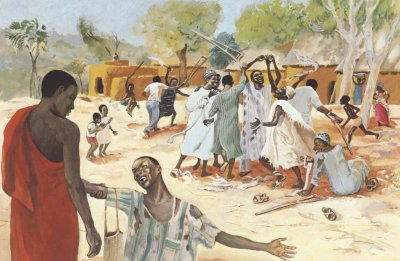 A painting set in Africa. Several men are leaving at the top, while one is on his knees in joy to a man at lower left.