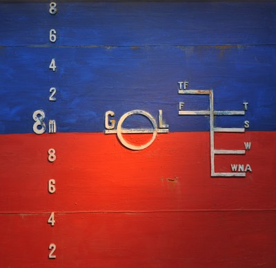 A model of the Plimsoll or load markings on the side of a ship.
