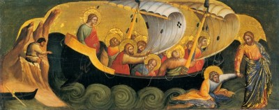 An illustration of Jesus holding Peter's hand just outside the boat on the waves.