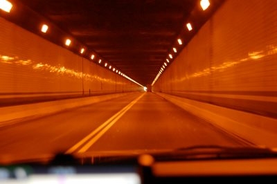 A road in a tunnel
