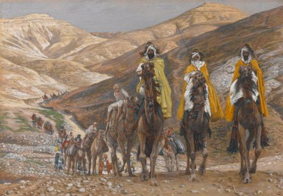 A painting of the magi on the road.