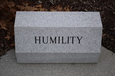 """A stone monument bearing the single word, """"Humility."""""""