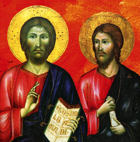 Orthodox icon depiction of Jesus and his brother James