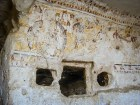 Photo: Paul Perry, a 6th century cave church in the mountains between Dayr Abu Hinnis and Dayr al-Barsha showing the oldest painting of the Flight into Egypt according to the gospel of Matthew. Here Herod gives orders to slay the children of Bethlehem