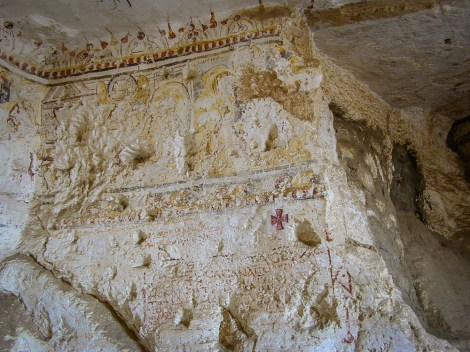 """Photo: Paul Perry, another mural in the cave dipicting an angel appearing to Joseph in a dream telling him to """"take the young child and his mother, and flee into Egypt."""""""