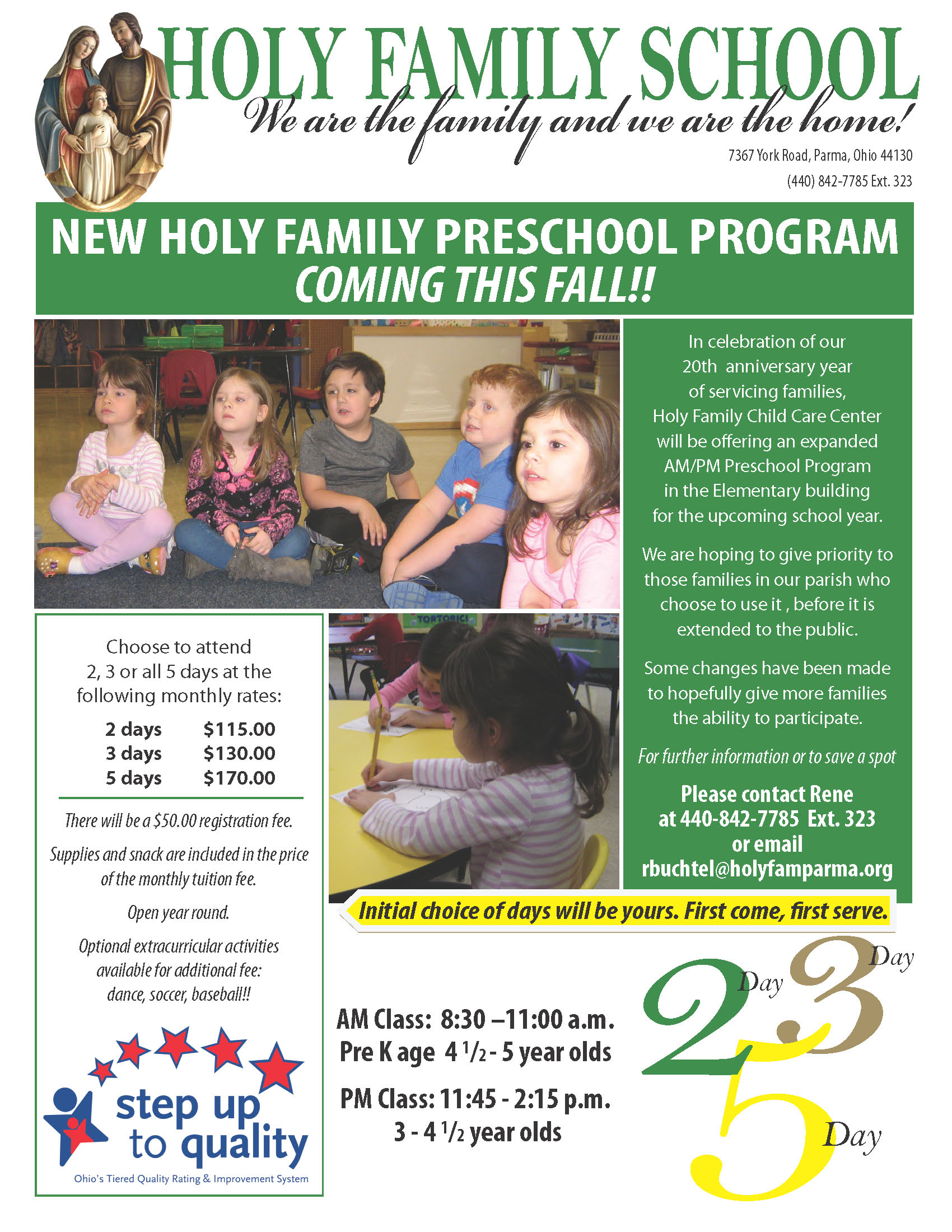 Childcare And Preschool Holy Family Catholic Parish