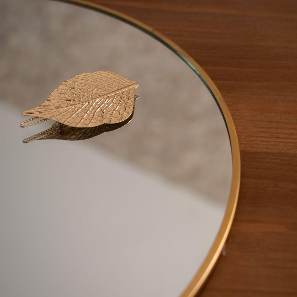 barette à cheveux en forme de feuille en acier inoxydable doré