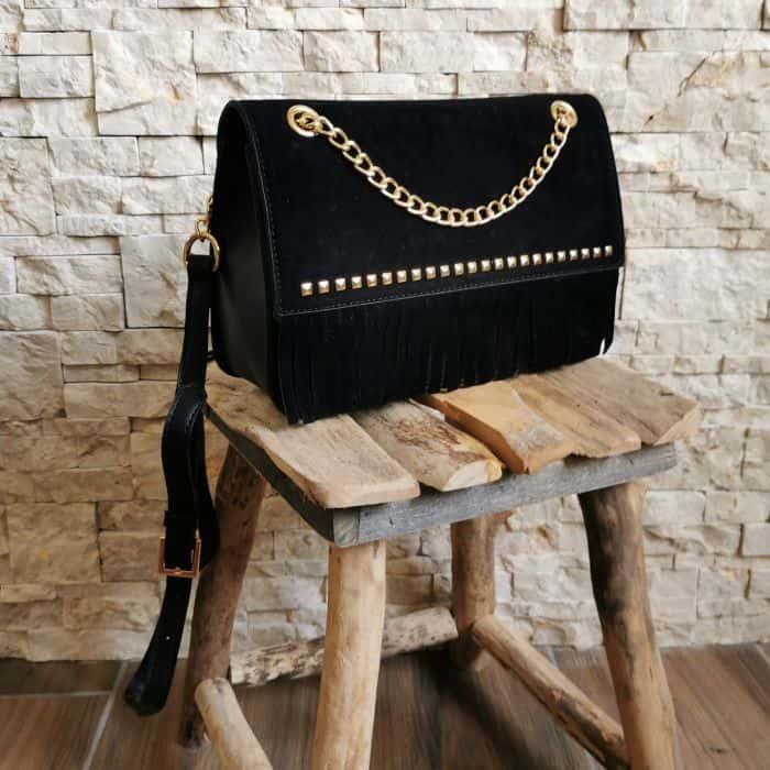 sac à main grand noir franges