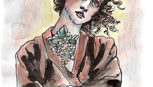 illustration «femme aux boucles et collier de vigne»