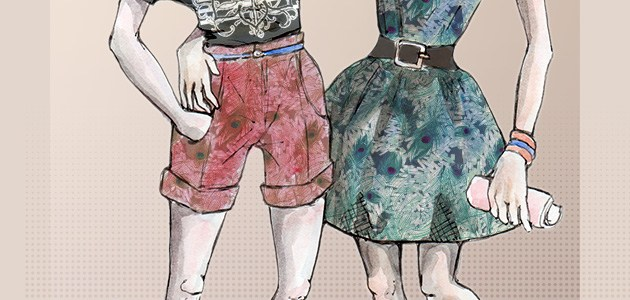 Dessin de Mode – motifs textile – Paon et cristaux