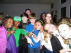 Seventh graders enjoying the Mardi Gras festivities