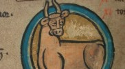 TCD MS 90 f2v April: Taurus. © The Board of Trinity College Dublin