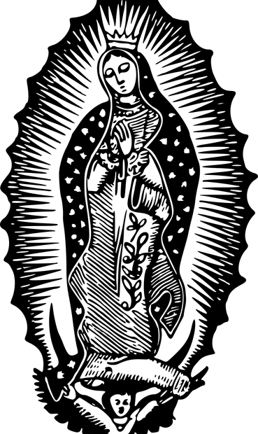 woodcut of Mary as Queen of Heaven
