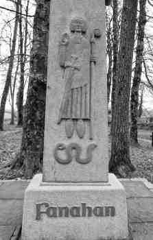 Sculture of St Fanahan above the holy well